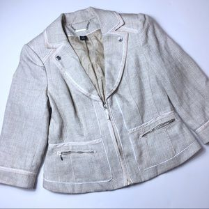 White House Black Market Linen Color Blazer, 12